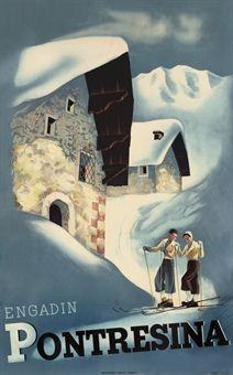 Vintage Ski Poster PONTRESINA 1935 http://www.christies.com/lotfinder/posters-signage-advertising/anonymous-pontresina-5175416-details.aspx?pos=4=5175416==17