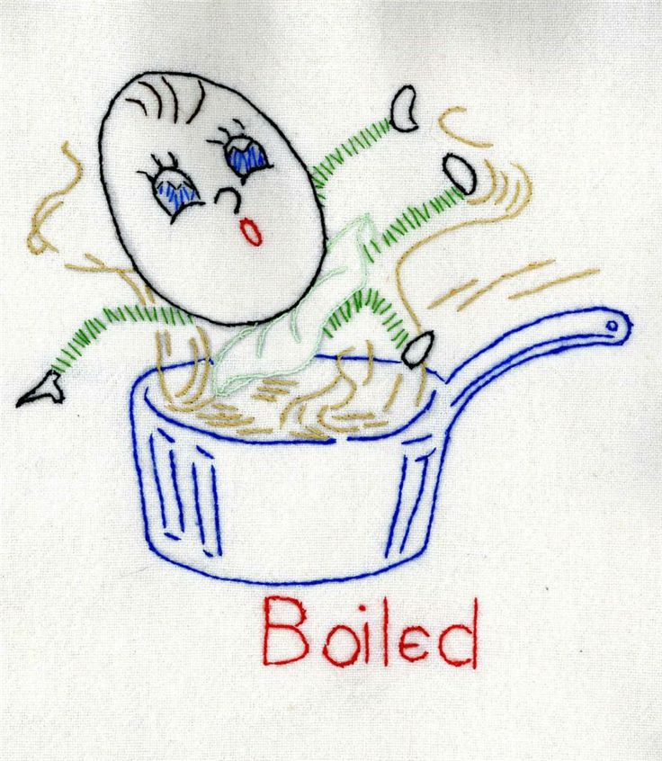 adorable vintage embroidery pattern - boiled egg
