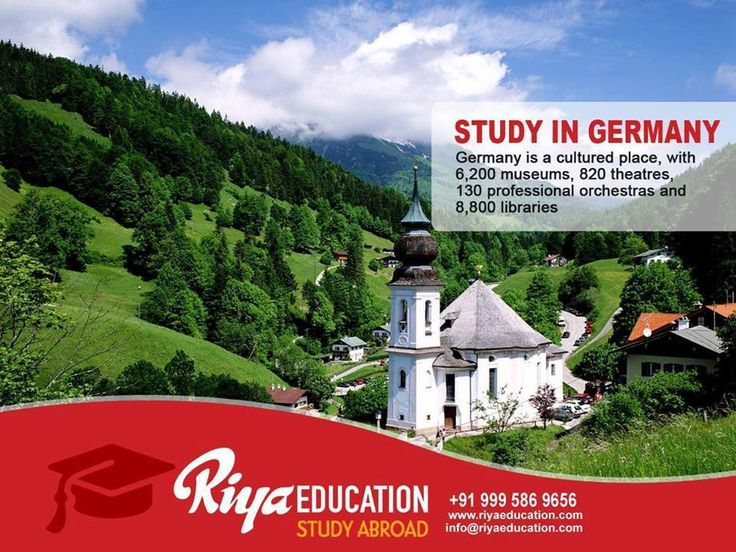 STUDY IN GERMANY: Germany is a cultured place, with 6,200 museums, 820 theaters, 130 professional orchestras and 8,800 libraries!! Click and send your inquiry or call +91 9995869656 www.riyaeducation.com  #BeInGermany2016 #StudyinGermany #StudyAbroad #jobvisa #WorkAndStudyInGermany #internationalcareer #globalcareer #RiyaEducation