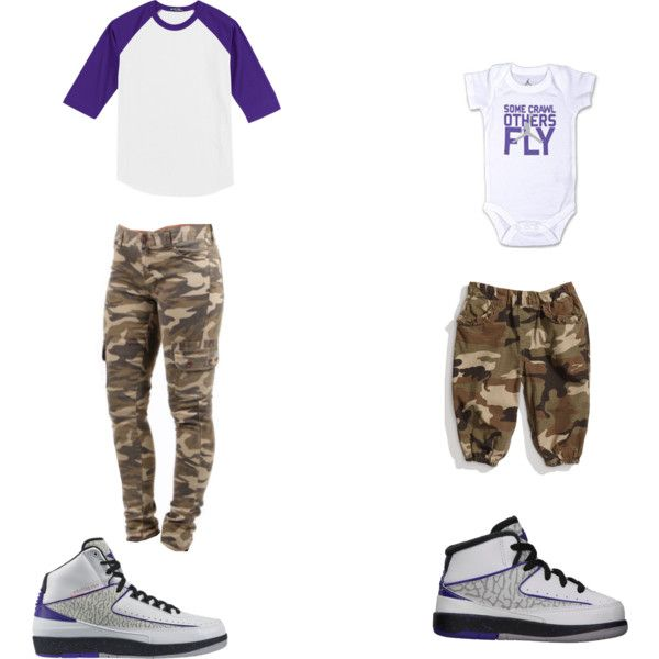 """""""Air Jordan Retro 2 and Camo-Mother/Daughter"""" by ericapowell on Polyvore"""