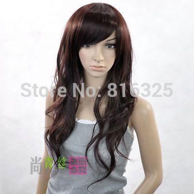 БЕСПЛАТНО P & P>>>> Длинные Леди Волнистые темно-каштановые волосы Полный Парик Discount35 %