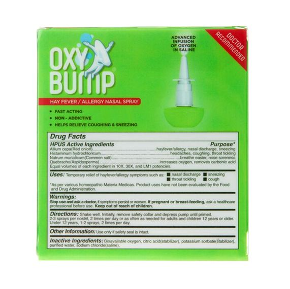 OXY BUMP: HAY FEVER / ALLERGY NASAL SPRAY – 15ml/120 sprays $11.99 #oxybump #hayfever #allergies #nasalspray #allergyseason #homeopathic #safe #effective