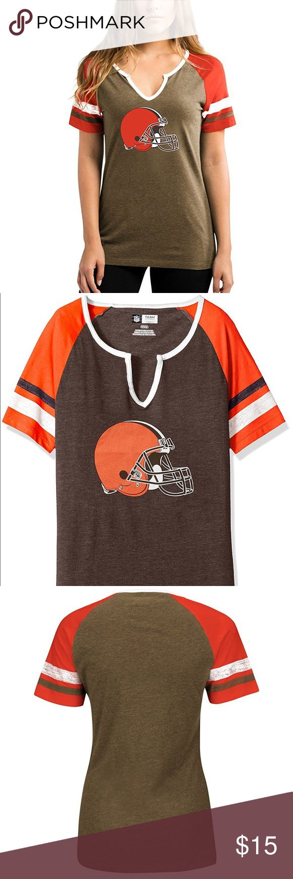 Cleveland Browns Sweet Game Short Sleeve Raglan Brand New Officially Licensed with tags. This cute Sweet Game Short Sleeve Raglan top has contrast stripped sleeves, notched V-neck with graphics on the front. (M)726658954488 (L)726656209481 Team Apparel Tops Tees - Short Sleeve