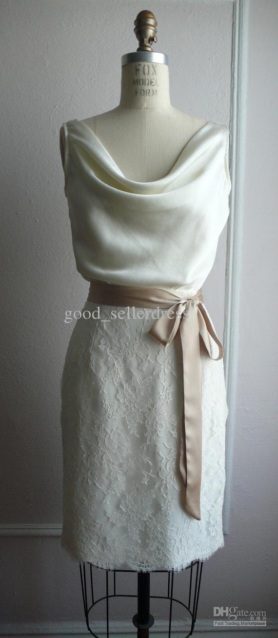 Sheath Wedding Dresses Lace Sexy Little White Wedding Dresses Elegant Knee length Cowl Collar ribbon