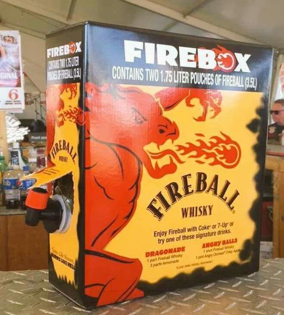 "<p> ""Tastes like Heaven, Burns like Hell"".</p> <p> This is a cinnamon flavored whisky which tastes like red hot candies. 66 Proof (33%ABV)</p> <p> This box contains two 1.75L pouches of Fireball with a spigot on either side.</p>"
