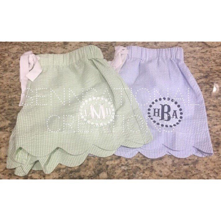 Monogrammed Seersucker Scalloped Shorts, Striped Shorts, Lounge Shorts, Bride Gift, Pajama Shorts by SennCreations on Etsy https://www.etsy.com/listing/201643007/monogrammed-seersucker-scalloped-shorts