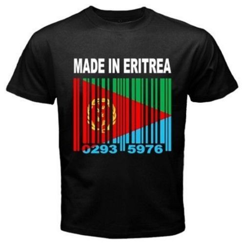 MADE-IN-ERITREA-Eritrean-Tigrinya-Country-Barcode-Flag-Black-T-shirt-Tees-Y72