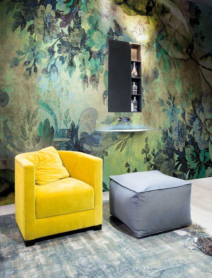Colourful wall covering for the bathroom. antoniolupi - AFFRESCHI Flower Design