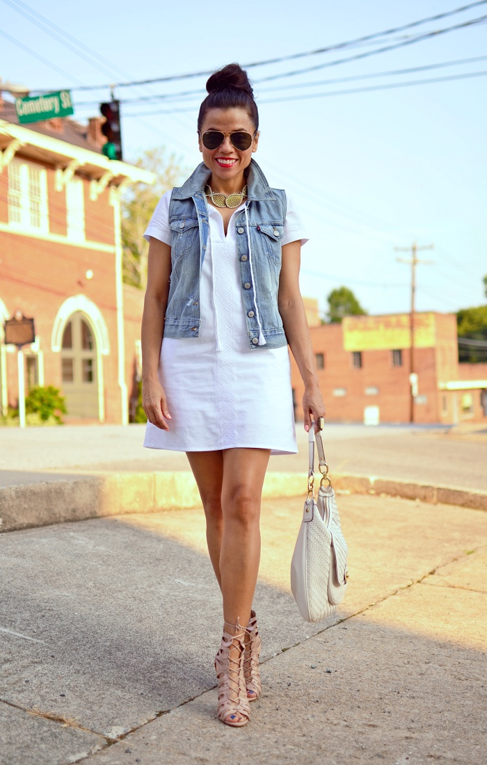Outfit idea on how to wear a white dress.
