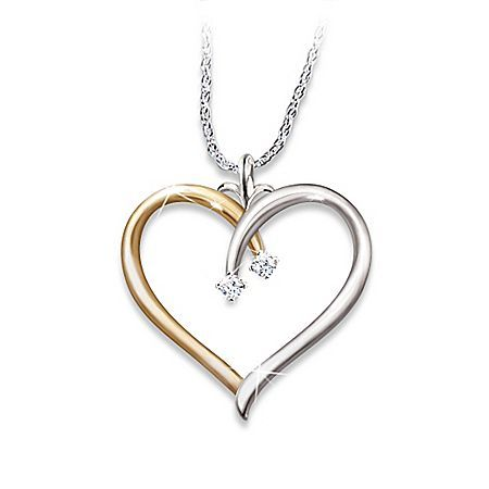 My Darling Granddaughter Diamond Open Heart Pendant Necklace