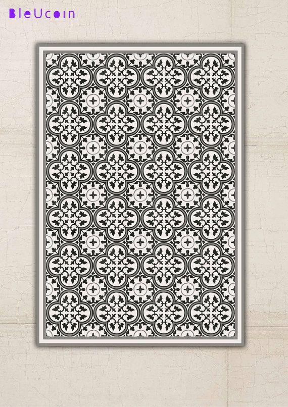 Floor Vinyl Rug Encaustic Pattern Decor Ideas Vinyl