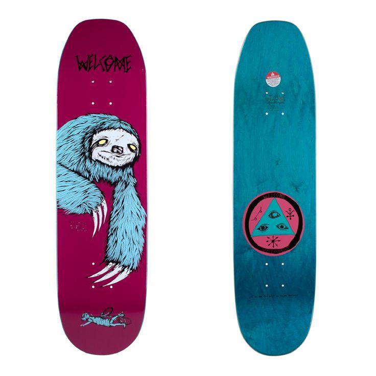 sloth on moontrimmer skateboard deck | welcome skateboards