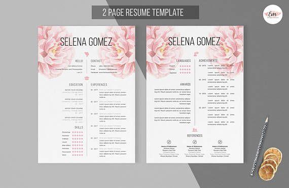 Elegant floral 2 page CV and Cover Letter template /professional cv template/ Creative Cv / Modern Cv / Instant Download / Floral Resumes