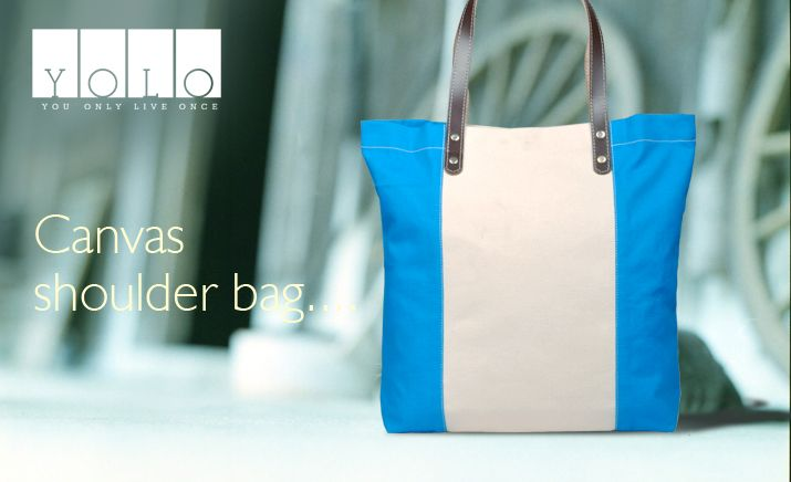 A simple design canvas shoulder bag from YOLO