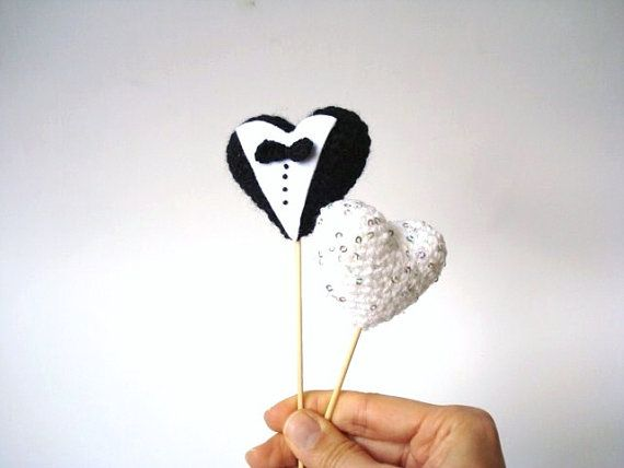 Wedding Cake Topper Bride and Groom Crocheted hearts by AllSoCute, $22.00