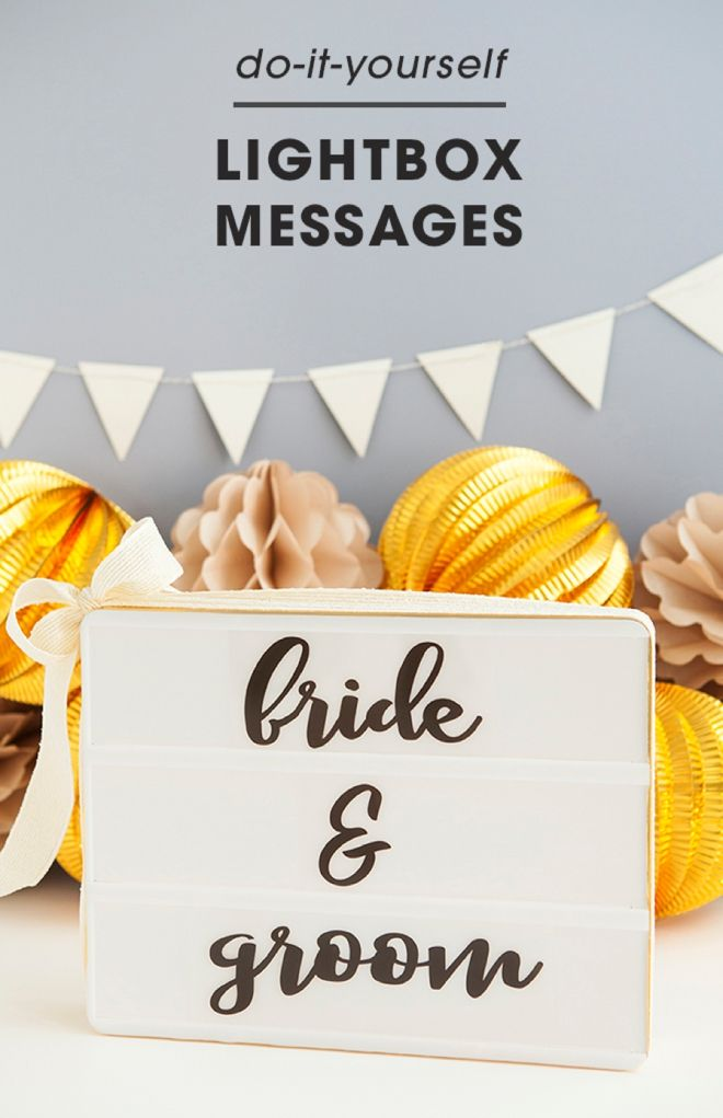 Lightbox messages are a great decoration that can be used for so many different occasions. Customize one for a wedding with free printable messages and ribbon thanks to this tutorial, courtesy of Something Turquoise.