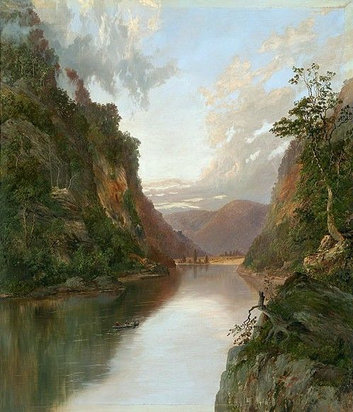 Hawkesbury River with Figures in Boat : On the Nepean by William Piguenit.