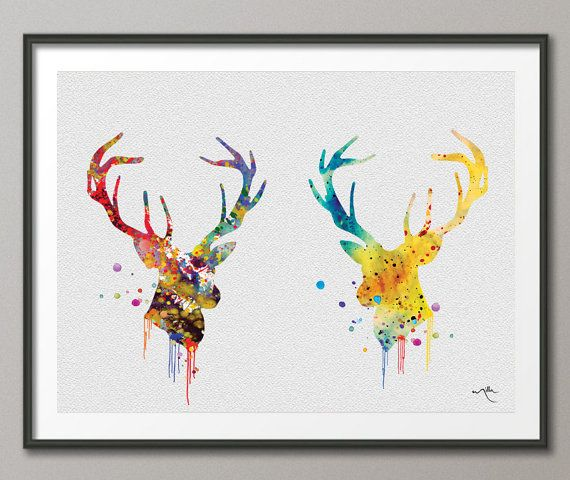 Deer Stag Antler Gay LOVE and Watercolor Art Print by CocoMilla