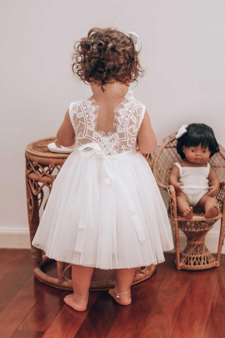Girls white chloe sleeveless dress in 2020 infant flower