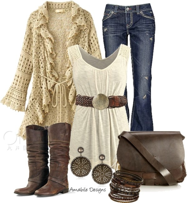 """Country Chic"" by amabiledesigns on Polyvore. With nicer jeans, this could be a fun, comfy & approachable work outfit, especially in more casual communities."