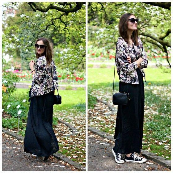 H Sunglasses, Zalando Floral Bomber Jacket, H Bag, Zalando Maxi Dress, Converse Sneakers