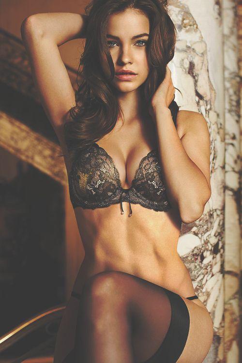 Top model Barbara Palvin rocks this black sheer lace lingerie