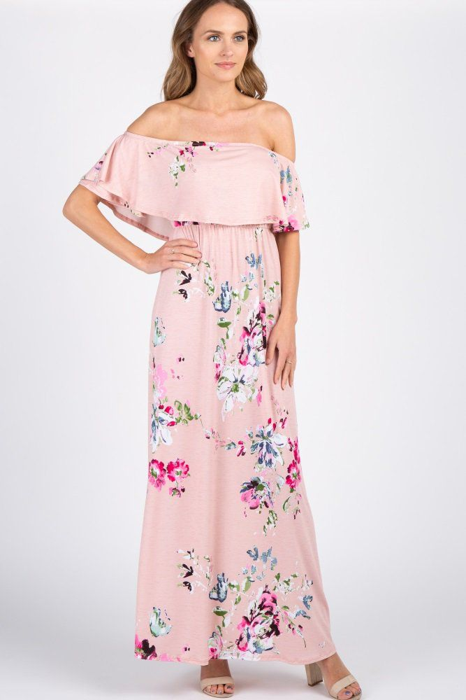 3e85ee1be02 Light Pink Floral Off Shoulder Maternity Maxi Dress in 2019 ...