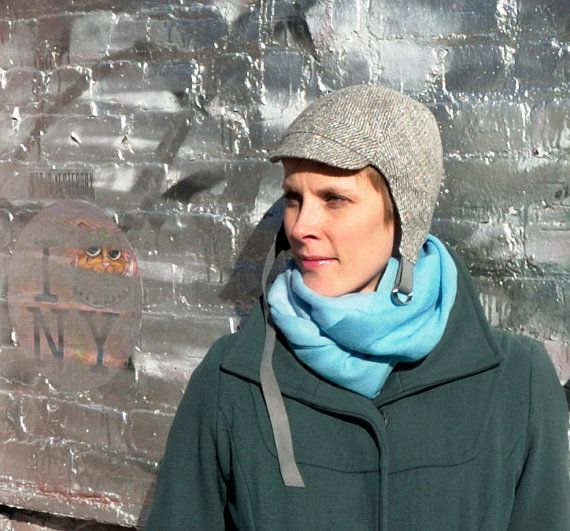 Cappello aviatore in lana metallica argento Womens di rocksandsalt, $68.00