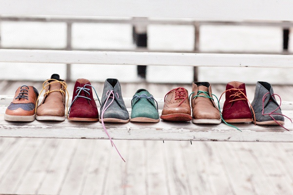 Coloured shoelaces - for men, well that's a waste!  what about us?!  100% waxed cotton shoe laces, in, apparently, 9 lovely colours. For girls and boys!  Mavericks-StyleKit-shoelace-hero_grande.gif (600×400)