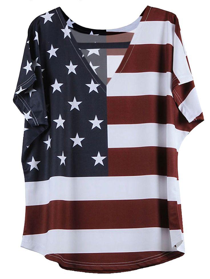 Short American Flag Pattern Sleeve V-Neck T-Shirt - BLUE/RED 2XL