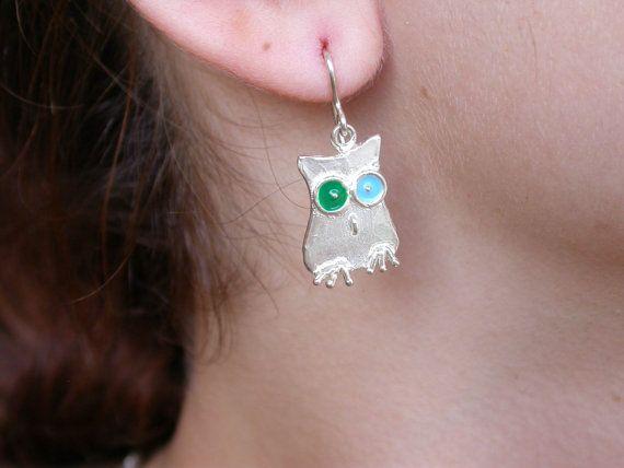 Owls Earrings  Silver by giolelli on Etsy