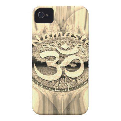 Golden Namaste Symbol with Tree of Life iPhone 4 Case - yoga health design namaste mind body spirit