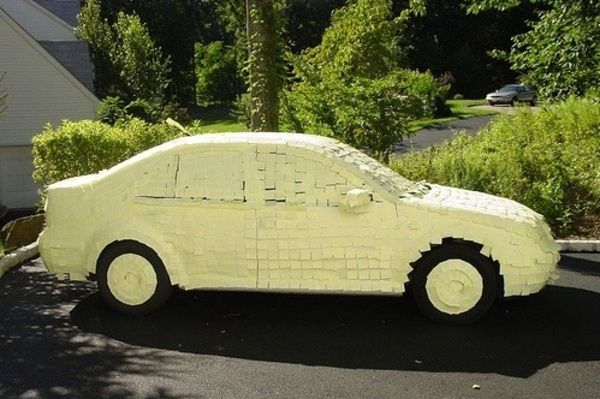 April fools!!! post it notes on car, or wrap car in plastic wrap, or you could move the car....i did the plastic wrap last year...hilarious!