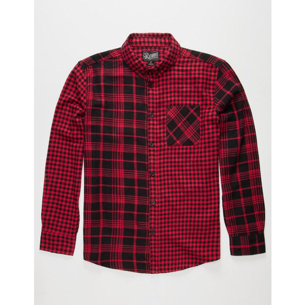 RETROFIT Patchwork Mens Flannel Shirt ($19) ❤ liked on Polyvore featuring men's fashion, men's clothing, men's shirts, men's casual shirts, red, mens long sleeve casual shirts, mens red shirt, mens red flannel shirt, mens long sleeve shirts and mens longsleeve shirts
