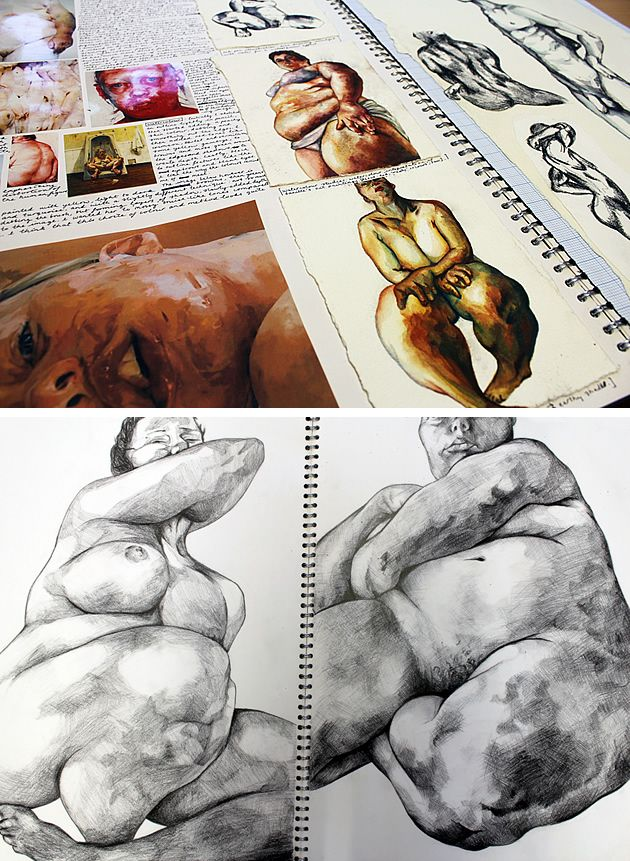 Jenny Saville research pages by Robyn Yeang: Learning from other artists by studying them in your sketchbook.