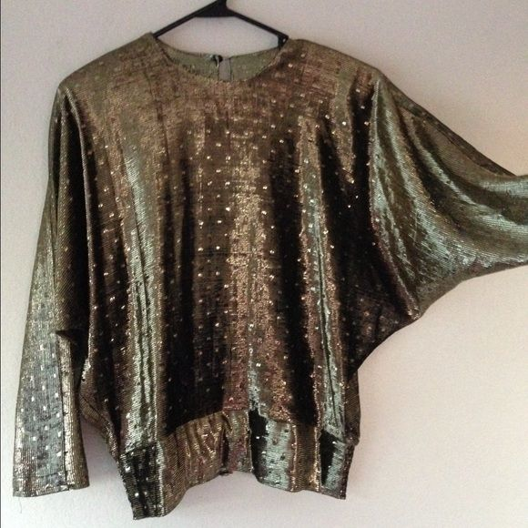 Vintage Disco Gold Metallic Batwing Top Gold Metallic Bat Wing Soft &Sheer in Light Top. Vintage Tops