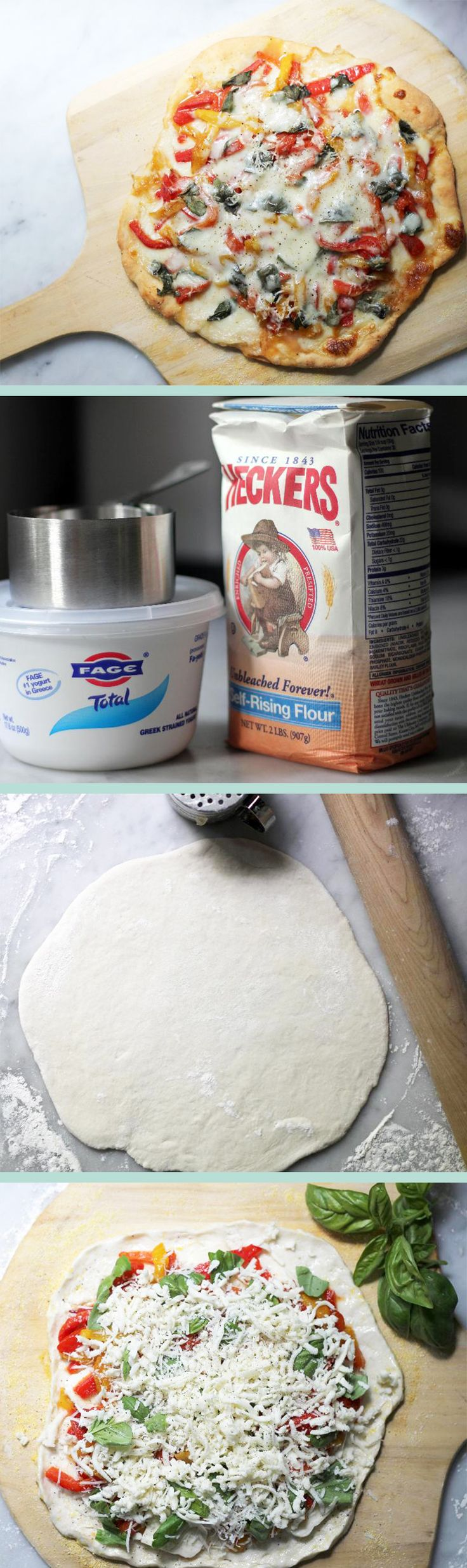 This 2-ingredient pizza dough is the easiest way to bake a homemade crust — and it's healthy! All you'll need is Greek yogurt and self-rising flour. Follow this recipe to create your own delicious, fast, and easy pizza.