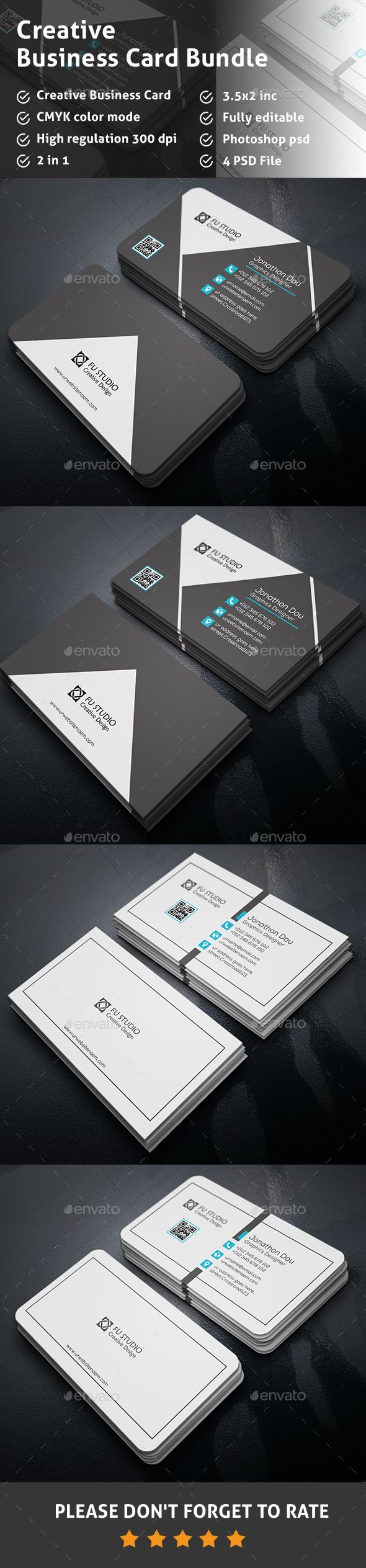 Business Card Bundle Template PSD #visitcard #design Download: http://graphicriver.net/item/business-card-bundle/13338060?ref=ksioks