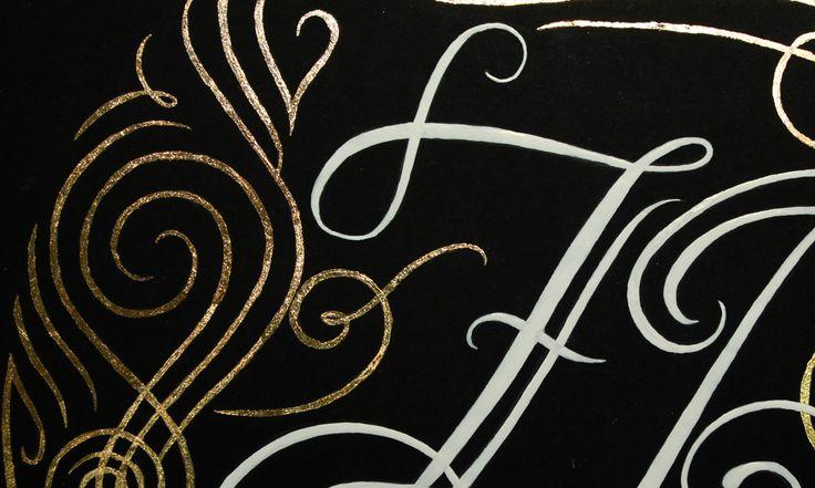 Hand Lettered Monogram Design Gilded with Gold