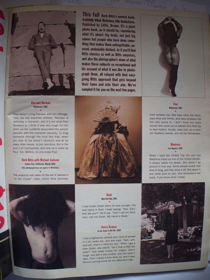 Notorious. - Herb Ritts (Pee-wee Herman, Cher, Madonna, Slash, Nancy Reagan).