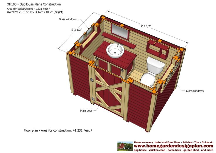 Outhouse Plans | OH100 - Out House Plans Construction - Out House Design - How To Build ...