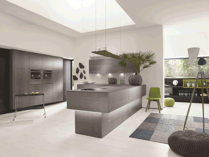 Alno Concretto kitchen with a ceramic concrete-effect finish, price on request, alnokitchens.co.uk #kitchen #island #utopialoves