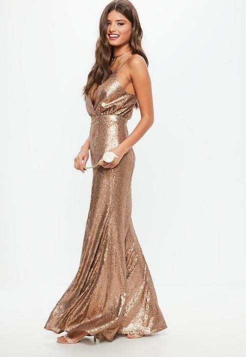 Bridesmaid Dress #affiliatelink #wedding #bridesmaid #bridesmaiddress | Bridesmaid Copper Bridesmaid Sequin Strappy Plunge Dress, Brown