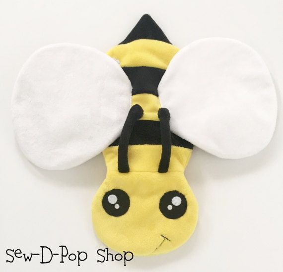 Bumble Bee Baby Blanket Lovey Organic Ring Clip Toy By SewDPopShop