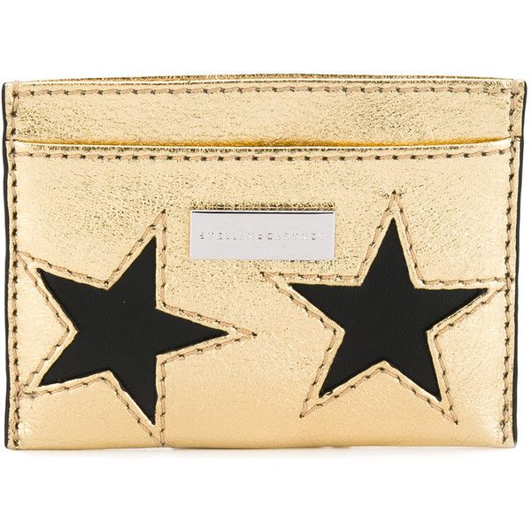 Stella McCartney star cardholder ($190) ❤ liked on Polyvore featuring bags, wallets, black, stella mccartney bag, stella mccartney, credit card holder wallet, star wallet and card slot wallet