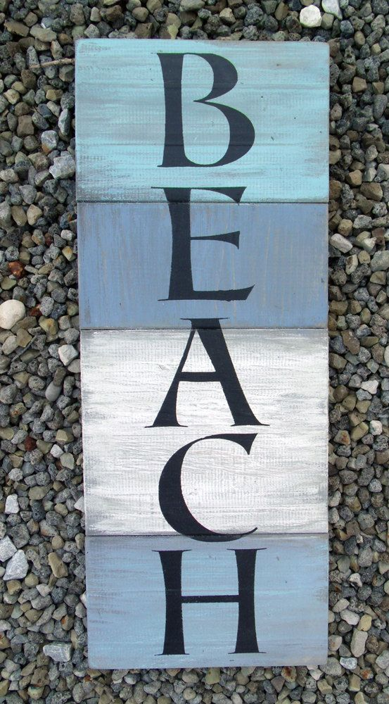 BEACH wooden sign  Measures 7 x 18 approx.  Hand by CheekySheep, $20.00
