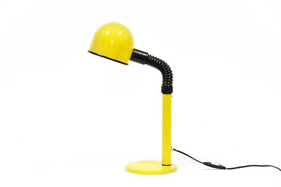 Bright yellow desk lamp from Alda, Sweden. Good vintage condition from 1960s.