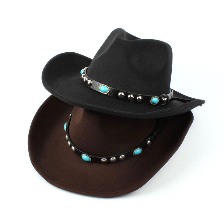 High-quality Mens Women Woolen Western Cowboy Hat Vintage Wide Brim Cowgirl Jazz Cap Horse Riding Hat - NewChic Mobile