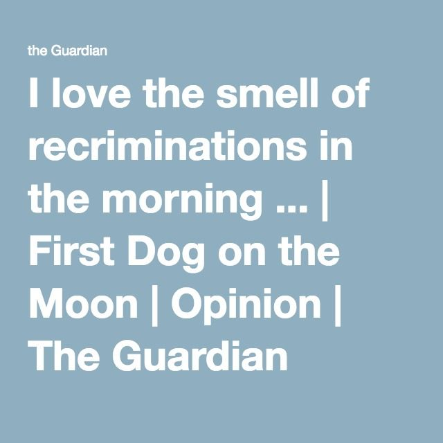 I love the smell of recriminations in the morning ... | First Dog on the Moon | Opinion | The Guardian