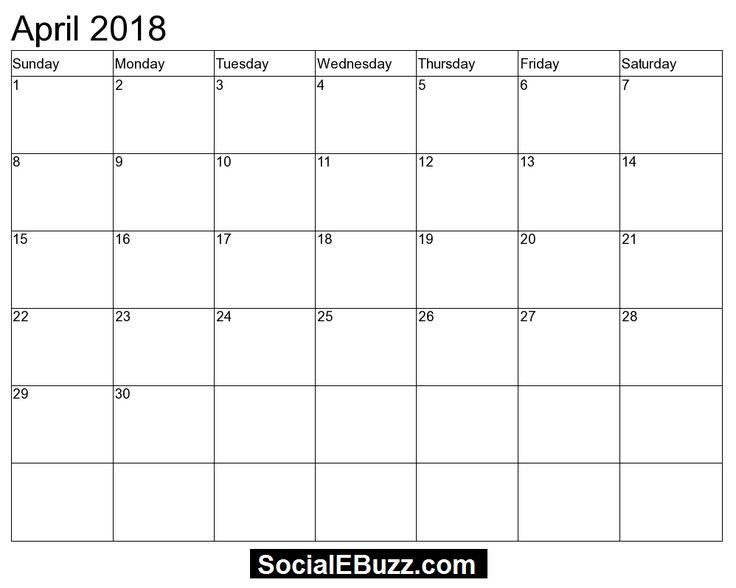 printable april 2018 calendar pdf